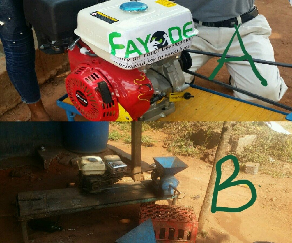 Grinding mill donated by FAYODE to Ms Aishat Odegbaro